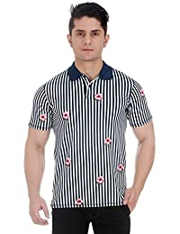 Girggit Cloud Dancer Pique Cotton Polo T-Shirt With All Over Striped Floral Print And Silicon Wash