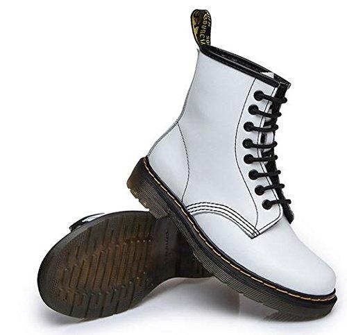 &zhou femminile Martin stivali autunno e stivali invernali di moda piatto - a fondo stivali White