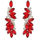 EVER FAITH elegant österreichischen Kristall herrlich Anhänger Ohrringe - rot-Silber-Ton N05723-3