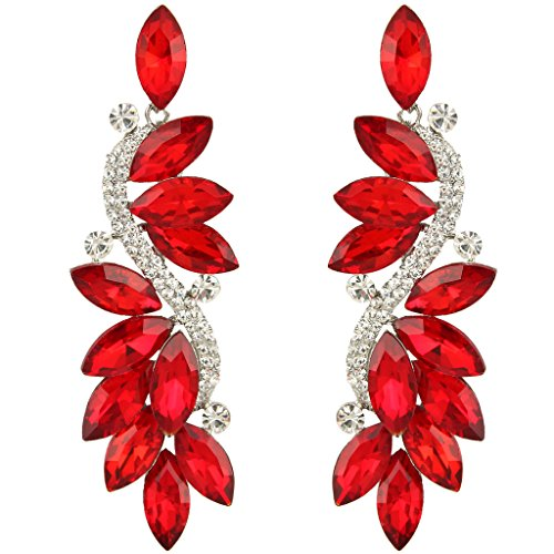 Ever Faith® - Fashion Cristal Austriaco Fiesta Pendientes Perforados Plata-Tono Rojo N05723-3