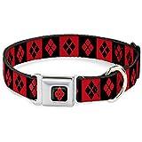 Buckle Down 22,9–38,1cm jkg-Harley Quinn Diamant Full Color Schwarz/Rot Hund Halsband