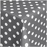 WACHSTUCH TISCHDECKE (01150-20) - 180 x 140 cm - Abwischbar Meterware, Größe wählbar, Punkte Grau-Weiss