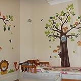 Kids Jungle Animals Tree Forest Owl Nursery Wall Stickers