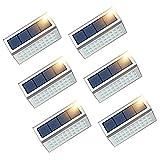 JSOT Solarlampen für Außen - Solarleuchte Garten Solar Deck Lichter 6 Stück 30LED Superhelle Treppenlicht IP 55 Wasserdichter Edelstahl 1600mAh Sicherheitsleuchte für Treppen Terrasse(Weißes Licht)