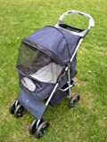 Blue 4 Wheel Easy Fold Dog Stroller / Foldable Pet Buggy / Pushchair for Dogs & Cats