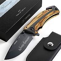 Pfiffiges Taschenmesser Schlüsselmesser Messer Klappmesser Einhandmesser schwarz