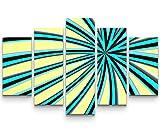 5 teiliges Wandbild auf Leinwand (Gesamtmaß: 150x100cm) Abstraktes Bild – blau-schwarze Streifen + hellgelber Hintergrund