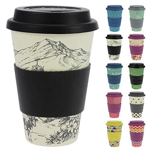 ebos Glücksbringer Coffee-to-Go-Becher aus Bambus | Kaffe-Becher, Trink-Becher | wiederverwendbar, natürliche Materialien, umweltfreundlich, lebensmittelecht, spülmaschinengeeignet (Alpenglück)