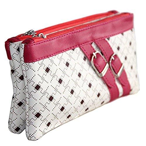 Clutch - Tasche, zwei Mini-Taschen-Verschluss und dekorativen Bändern. Fushia