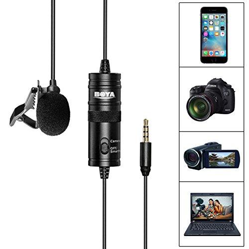 Boya BY-M1- Microfono a clip per fotocamera DSLR/smartphone/videocamera/registratori audio, colore:nero