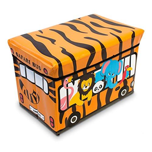 VENKON - Faltbare Sitzbank mit Aufbewahrungsfunktion für Kinderzimmer - Safari Bus - Kunstlederbezug - 49 x 31 x 32 cm
