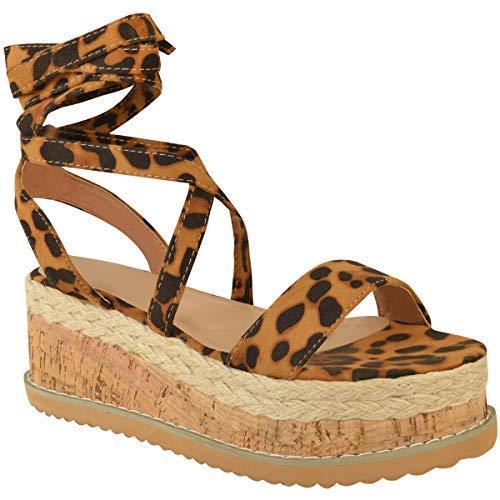 Damen Plateau Kork Espadrilles Sandalen Mit Keilabsatz Knöchel Schnüren Schuh Größe - Leopard Kunstwildleder, 36
