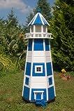 Wunderschöner großer XXL Leuchtturm aus Holz mit LED Solar Beleuchtung 1,40 m, blau/Weiss, Garten, Deko