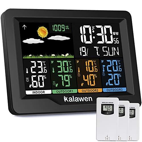 Kalawen Wetterstation 3 Außensensoren Innen und Außen Multifunktional Farbdisplay Digital Thermometer Hygrometer Digital-Wecker Funkwetterstation für Zuhause Büro Hausgarten