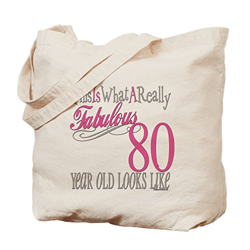 CafePress–80. Geburtstag Geschenk–Leinwand Natur Tasche, Reinigungstuch Einkaufstasche S khaki