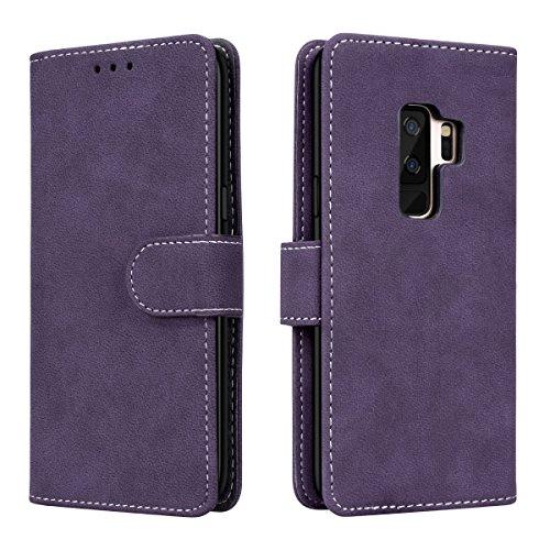 Prologfer Samsung Galaxy S9 Plus Hülle Lila Lederhülle Handytasche Karten Slot Case Cover Magnetverschluss Flip Bookstyle Standfunktion mit Magnet Schutzhülle für Samsung S9 Plus Handyhülle