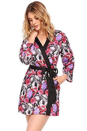 Camisón Camisón con Estampado Floral para Mujer Satinado Kimono Fashionista con Estampado De Pijama...
