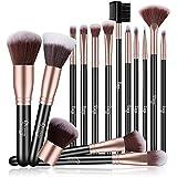 Qivange Makeup Brushes, 15 Pieces Flat Foundation Kabuki Powder Concealer Fan Brush Eyeliner Eyeshadow Blending...