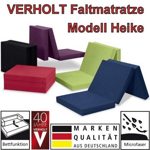 Klappmatratze Faltmatratze Verholt HEIKE blau - MADE IN GERMANY - als Gästebett / Gästematratze / Klappbett einsetzbar