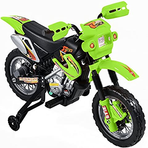 Ride on Kids Motocross Electric Scrambler Motorbike 6V Battery Operated Toy Bike Car in Green