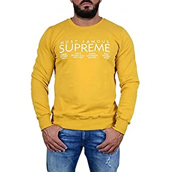 supreme sweat shirt capuche homme moutarde amazon. Black Bedroom Furniture Sets. Home Design Ideas