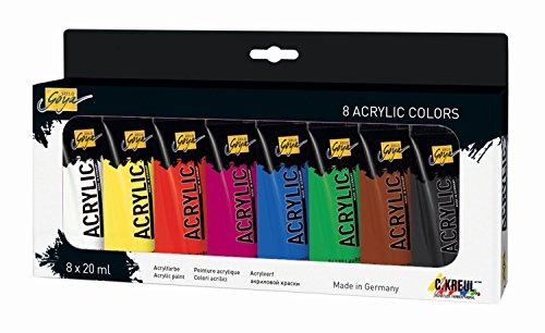 Kreul 84171 - Solo Goya Acrylic, hochpigmentierte Acrylfarbe in Studienqualität, 8 x 20 ml in, für Schule, Studium, Beruf und Freizeit
