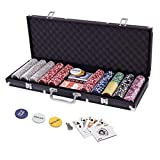 Display4top 500 Piece Texas Holdem Poker Chips Set with Aluminum Case,2 Decks of