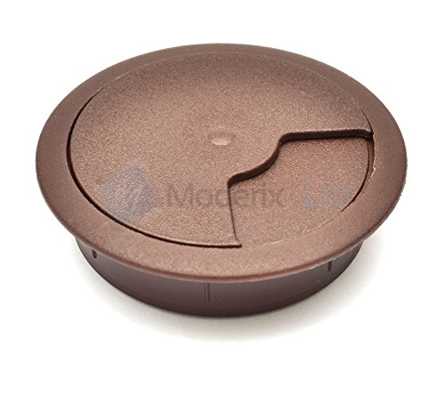 80mm Dark Brown PC Computer Desk Plastic Grommet Table Cable Tidy Wire Hole Cover
