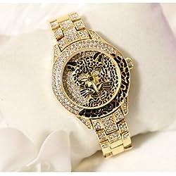 XKC-watches Relojes de Mujer, Mujer Reloj de Moda Cuarzo Japonés Reloj Casual Acero Inoxidable Banda Destello/Leopardo Plata/Dorado Marca- (Color : Oro, Talla : Una Talla)