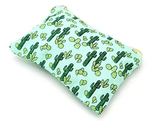 Oh My Shop ATM10 - Trousse à Maquillage Pochette Rangement Tissu Imprimé Cactus Vert