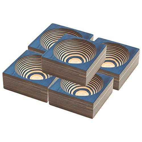Box-Kollektiv Pakkawood Pinch Schalen Set von 5 - Holz Schalen für Lebensmittel, Gewürze, Snacks, Messen, Zutaten - Schöne exotische kleine Schüssel-Set, umweltfreundlich und leicht zu reinigen kobalt Pinch Bowl Set