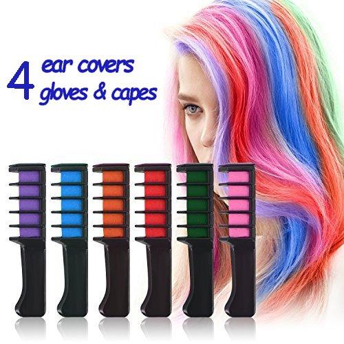 """Auswaschbar Haarkreide für Kinder - 6 bunte Farben Rainbow natürliche Haarfärbung Set Jungen Hair Chalk Glitter Haarfarbe klein Pastell (Rot, Pink, Blau, Grün, Lila & Orange) von """"wunder X"""""""