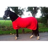 "NEW HORSE COB PONY SHETLAND MINI RED SHOW TRAVEL FLEECE RUG 3'6""-6'9"" stable cooler choice of Sizes (4'6"")…"
