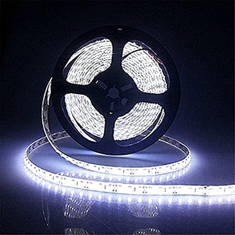 LED Strip Lights kit Waterproof Flexible String Light SMD 3528 16.4 Ft (5M) 300leds 60leds/M LED ribbon DIY Christmas Holiday Home Kitchen Car Bar Indoor Party Decoration + 12V Power Supply (White)