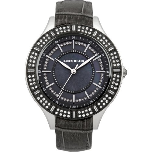 Karen Millen Women's Quartz Watch with Mother of Pearl Dial Analogue Display and Grey Leather Strap KM102BB