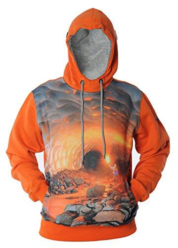 REDRUM 3D Print Digital Fullprint Design Hoody Hoodie Kapuzenpullover Pullover mit Kapuze Herren Streetwear Cave Orange