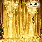 Tenda luminosa,VIFLYKOO 3 * 3 metro 304 Led Luci Stringa con 8 Effetti di Luce Impermeabile per Decorare Interni ed Esterni, Natale,Giardino, Matrimoni e Feste, Compleanno