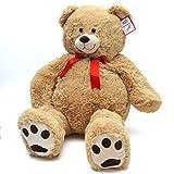 Kuschel Teddybär Monti, 100cm XXL Teddy in hellbraun – ein XXL Riesen Teddy-bär zum Liebhaben großer Plüschbär von Pink Papaya Toys EN 71 geprüfte Sicherheit