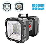 Festnight Bright Double Heads Flashlight Searchlight USB Rechargeable Portable Outdoor Emergency Light