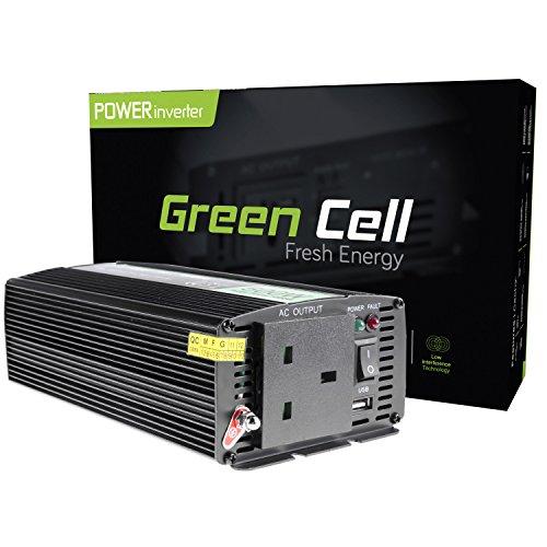 Grün Cell® 500W Power Inverter DC 24V bis AC 230V 240V KFZ/LKW Spannung Konverter, inkl. Stecker für Zigarettenanzünder, USB, Ladeanschluss und direkten Anschluss an Kfz Akku -