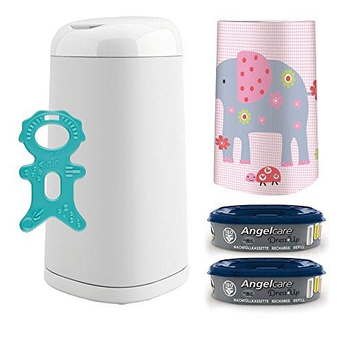 Angelcare® Dress-Up Starter-Set: Windeleimer + 2 Nachfüllkassette + Dress-Up Bezug Elephant Family