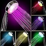 eTTG Duschkopf mit 7farbigen LED-Leuchten, mit wechselnden Farben, für Badezimmer, Dusche, mit Air Turbo (Schlauch nicht enthalten)