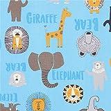 Blauer Baumwollpopeline mit Giraffen, Löwen und Bären.