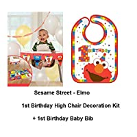 Sesame Street Elmo Baby 1st High Chair Banner Decoration Plus Elmo Baby BIB 1st and BIRTHDAY CARD