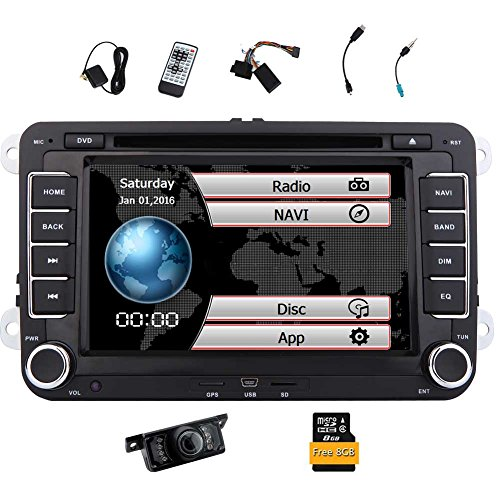 Free Rckfahrkamera + EinCar Doppel-DIN 7 Zoll-Auto-Stereoradio DVD GPS Nav CD-Player in der Schlag-Bluetooth-Touch-Screen-Hauptgert fur VW Passat t5 Golf MK5 Jetta mit 8GB Karten-Karte -