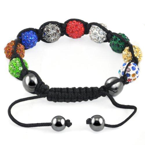 TRIXES Bracciale Shamballa brillante con 9 cristalli Svarowsky a forma di sfera, multicolore.