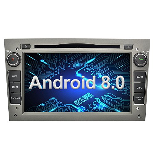 Ohok 7 Zoll Bildschirm 2 Din Autoradio Android 8.0.0 Oreo Octa Core Radio mit Navi Moniceiver DVD GPS Navigation Unterstützt Bluetooth WLAN DAB+ OBD2 für OPEL Grau -