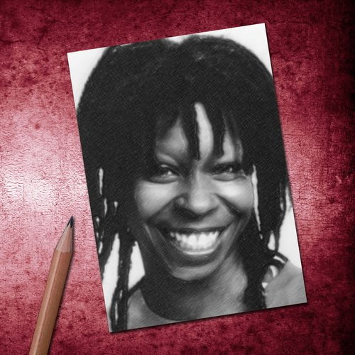 Seasons WHOOPI GOLDBERG - ACEO Sketch Card (Signed by the Artist) #js001 (Weihnachten Lila Jack)