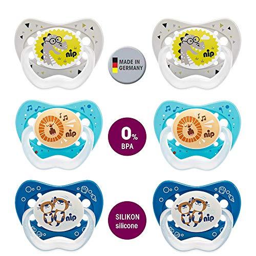 NIP Spar-Set Schnuller Family Größe 2 (5-18 Mo.) Silikon 6er Pack Boys BPA frei made in Germany