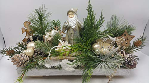 Weihnachtsgesteck Adventsgesteck Weihnachtsmann Geschenke Kugeln Schlittschuhe